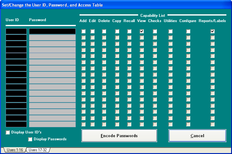 User ID and Password Table -- up to 32 distinct user IDs